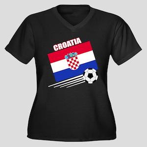 Croatia Soccer Team Women's Plus Size V-Neck Dark