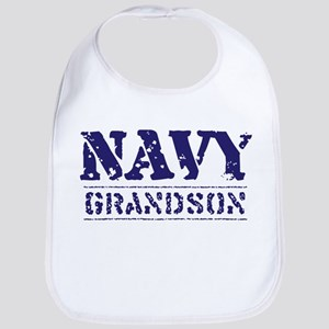 Navy Grandson Stencil Bib