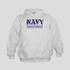 Navy Grandson Stencil Kids Hoodie