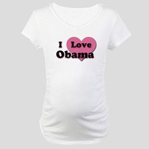 Pink Heart Obama Maternity T-Shirt