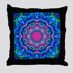 Cyberdelic Kaleidoscope Throw Pillow