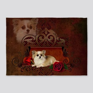 Cute chihuahua with roses 5'x7'Area Rug