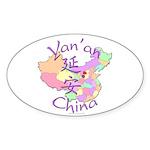 Yan'an China Oval Sticker (10 pk)