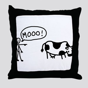 Moo At Cow Throw Pillow