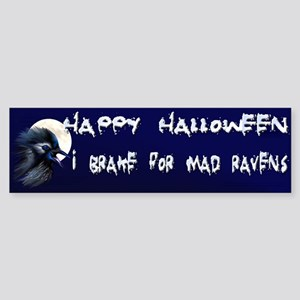 Manic Raven with Moon Bumper Sticker