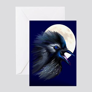Manic Raven with Moon Greeting Card