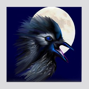 Manic Raven with Moon Tile Coaster