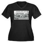 Dodge City 1879 Women's Plus Size V-Neck Dark T-Sh