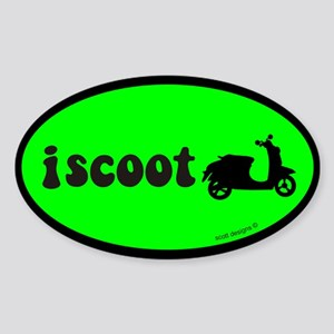 I Scoot Green Oval Sticker