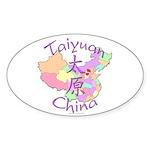 Taiyuan China Map Oval Sticker (10 pk)