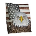 American Bald Eagle Patriot Burlap Throw Pillow