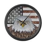 American Bald Eagle Patriot Large Wall Clock