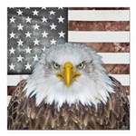 "American Bald Eagle Patriot Square Car Magnet 3"" x"