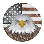 American Bald Eagle Patriot Round Car Magnet