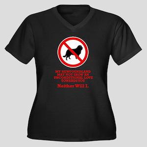 Newfoundland Women's Plus Size V-Neck Dark T-Shirt