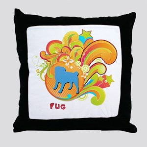 Groovy Pug Throw Pillow
