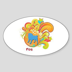 Groovy Pug Oval Sticker