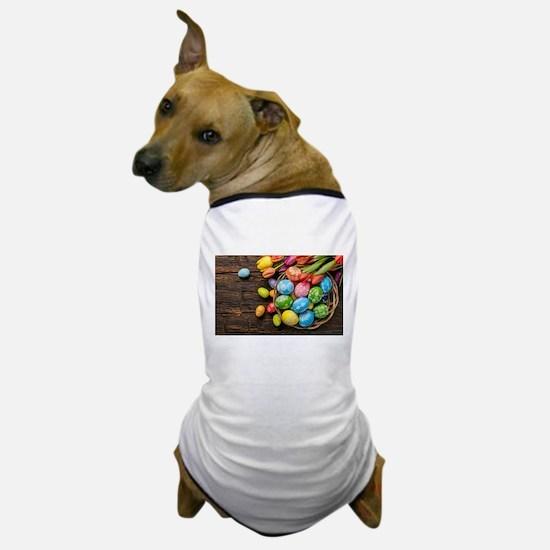 easter-eggs-colorful-tulips-wood-basket Dog T-Shir