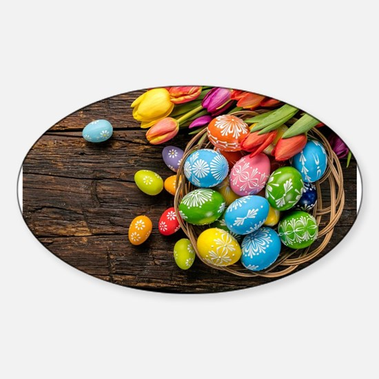 easter-eggs-colorful-tulips-wood-basket Bumper Stickers