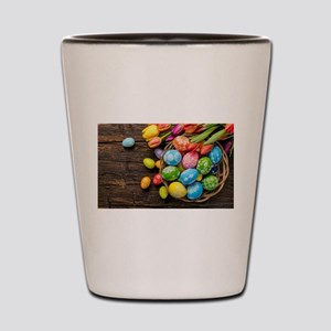 easter-eggs-colorful-tulips-wood-basket Shot Glass