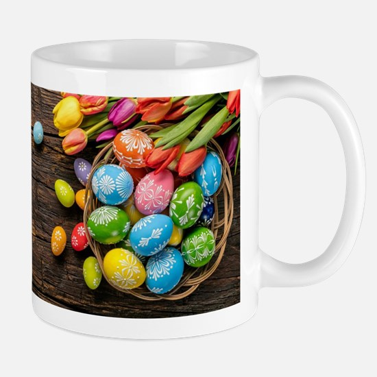 easter-eggs-colorful-tulips-wood-basket Mugs