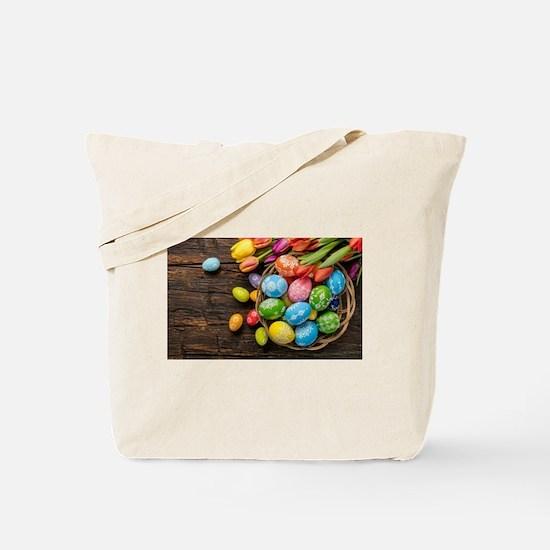easter-eggs-colorful-tulips-wood-basket Tote Bag