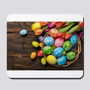 easter-eggs-colorful-tulips-wood-basket Mousepad