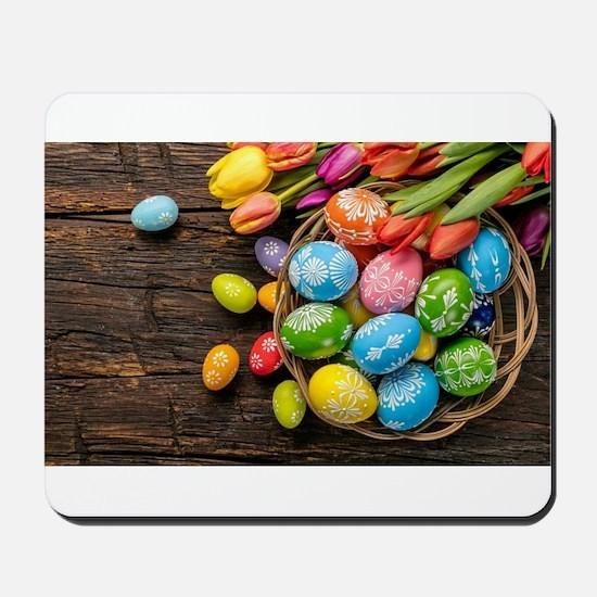 easter-eggs-colorful-tulips-wood-basket Mousepad