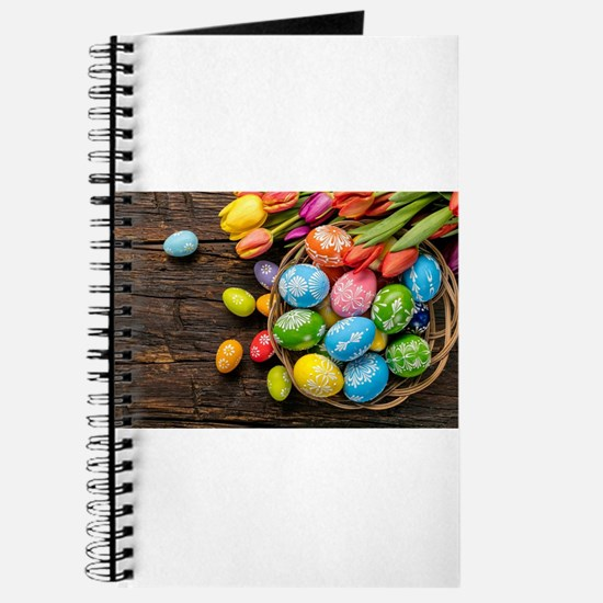 easter-eggs-colorful-tulips-wood-basket Journal