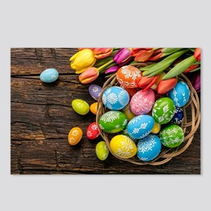 easter-eggs-colorful-tulips-wood-basket Postcards