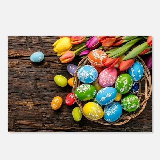 easter-eggs-colorful-tulips-wood-basket Postcards