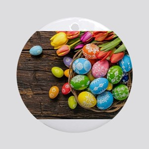 easter-eggs-colorful-tulips-wood-basket Round Orna