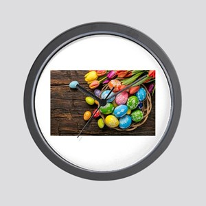 easter-eggs-colorful-tulips-wood-basket Wall Clock