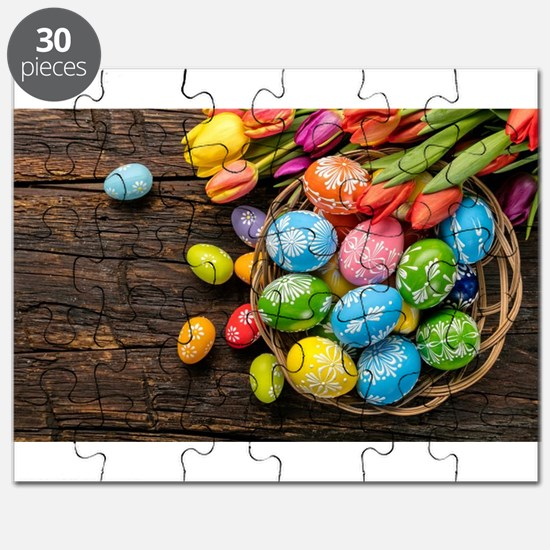 easter-eggs-colorful-tulips-wood-basket Puzzle