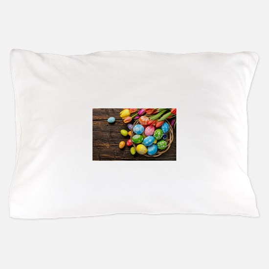 easter-eggs-colorful-tulips-wood-basket Pillow Cas