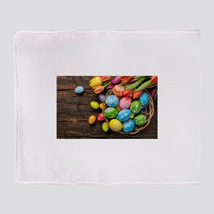 easter-eggs-colorful-tulips-wood-basket Throw Blan