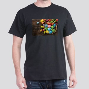 easter-eggs-colorful-tulips-wood-basket T-Shirt