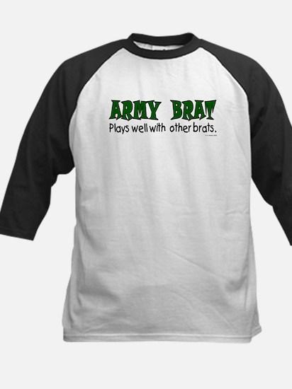 Army Brat Plays well .. brats Kids Baseball Jersey