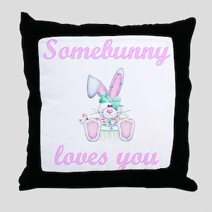 Somebunny Loves You (girl) Throw Pillow