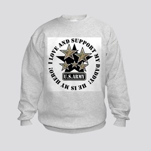 Daddy Kids Army Love Support Kids Sweatshirt