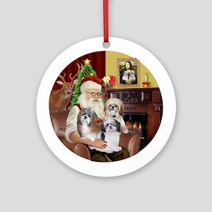 Santa & his 3 Shih Tzus Ornament (Round)