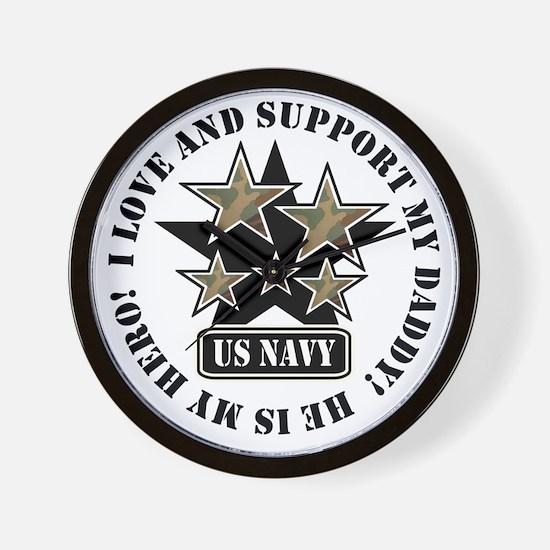 Navy Daddy Love Hero Wall Clock
