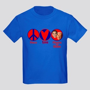 Peace, Love, Obama-Biden Kids Dark T-Shirt