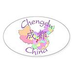Chengdu, China Oval Sticker