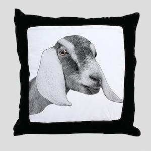 Nubian Goat Sketch Throw Pillow