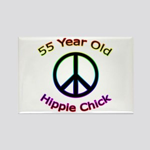 Hippie Chick 55th Birthday Rectangle Magnet