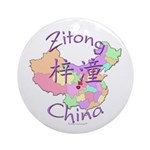 Zitong China Map Ornament (Round)
