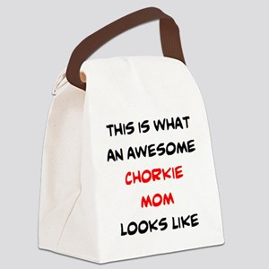 awesome chorkie mom Canvas Lunch Bag