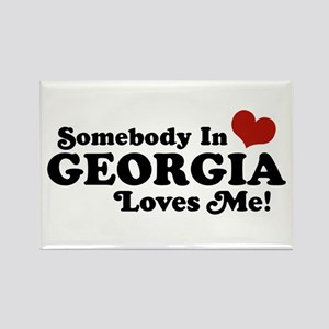Somebody in Georgia Loves Me Rectangle Magnet