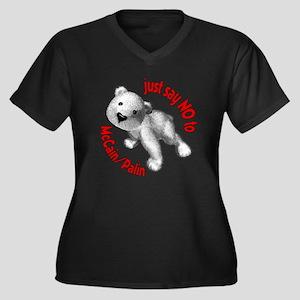 No McC/P Bear Women's Plus Size V-Neck Dark T-Shir